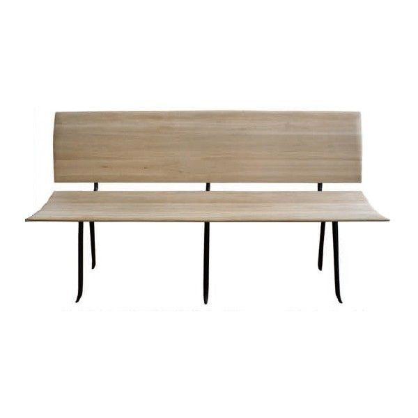 Banc avec dossier VIRGULE en chêne et fer forgé -- Fairsens - meuble en fer design
