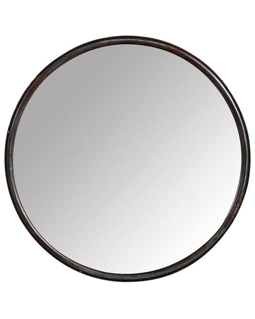 Boudoir Black Round Mirror Metal Frame Dia 40cm Black