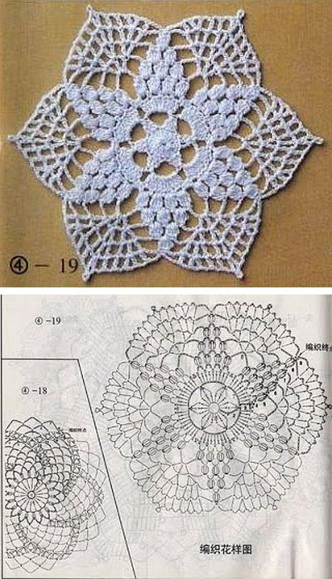 Six-pointed star doily #crochet | gehaakte | Pinterest | Carpeta ...