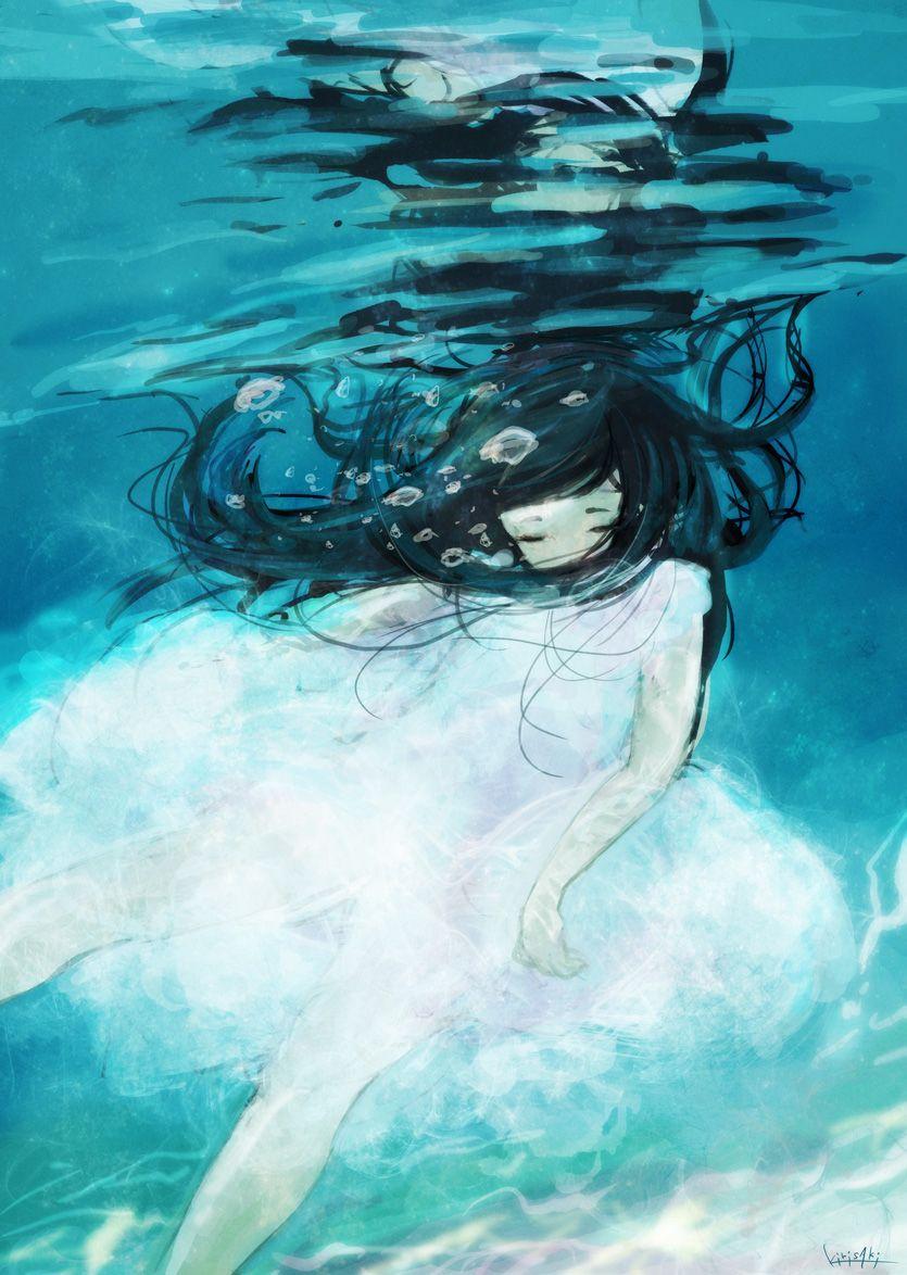 anime girl underwater art girls