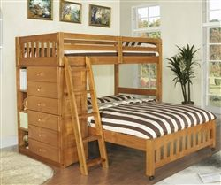 Discovery World Furniture Honey Twin Over Full Loft Bunk Bed 2105