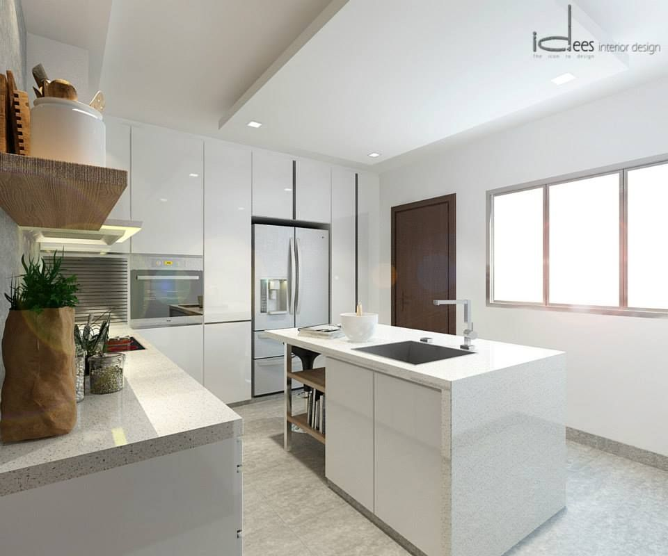 Modern Kitchen Designer Singapore: Designer Look For HDB Note: White Cabinets