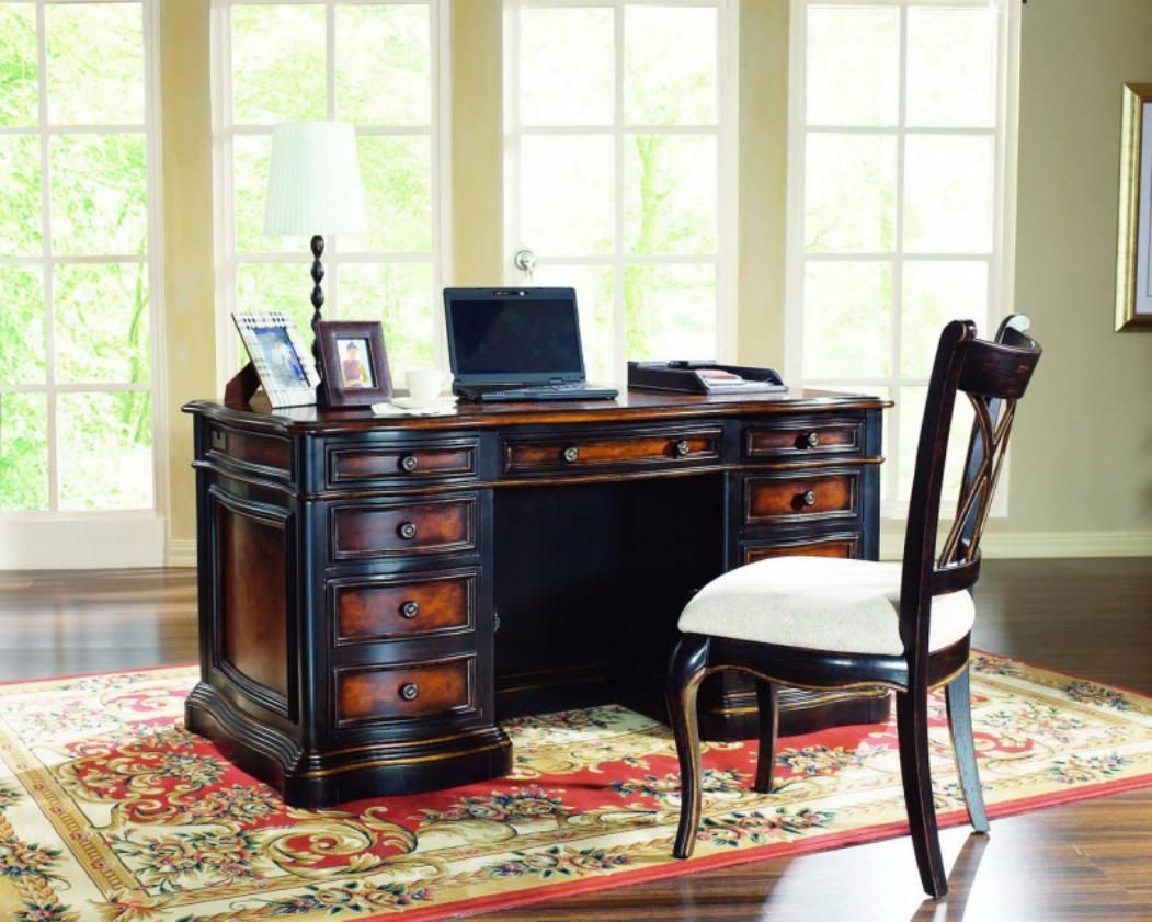 Executive office table with glass top contemporary lighting home office design with dark wooden desk and