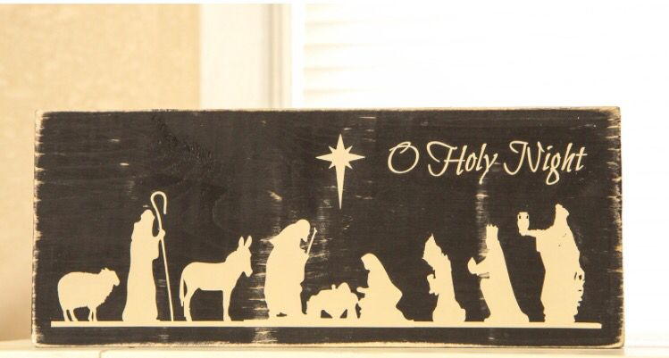 Rustic farmhouse country Oh Holy Night distressed wood sign #sponsored