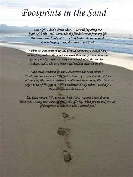Footsteps In The Sand Prayer Here Is The Footprints In