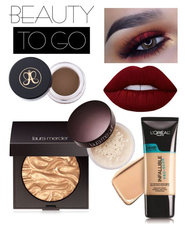 """""""Glowy Maroon"""" by addiiiieeee ❤ liked on Polyvore featuring beauty, Lime Crime, Laura Mercier, Anastasia Beverly Hills, L'Oréal Paris and travelbeauty"""