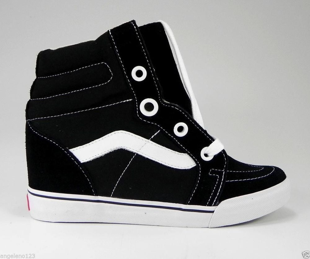 9f220e036d VANS Women s Sk8 Hi Shoes Fashion Sneakers Wedges Canvas Black Medium Heel   VANS  FashionSneakers