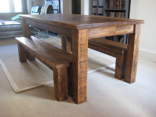 Table Rustic Oak Dining Table Chunky Dining Table Kitchen Table Bench