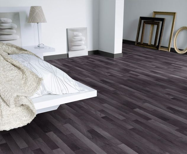 Black Vinyl Flooring In A Wood Grain Pattern Is Gorgeous In This Modern Bedroom Basement Grey Vinyl Flooring Bedroom Flooring Black Vinyl Flooring