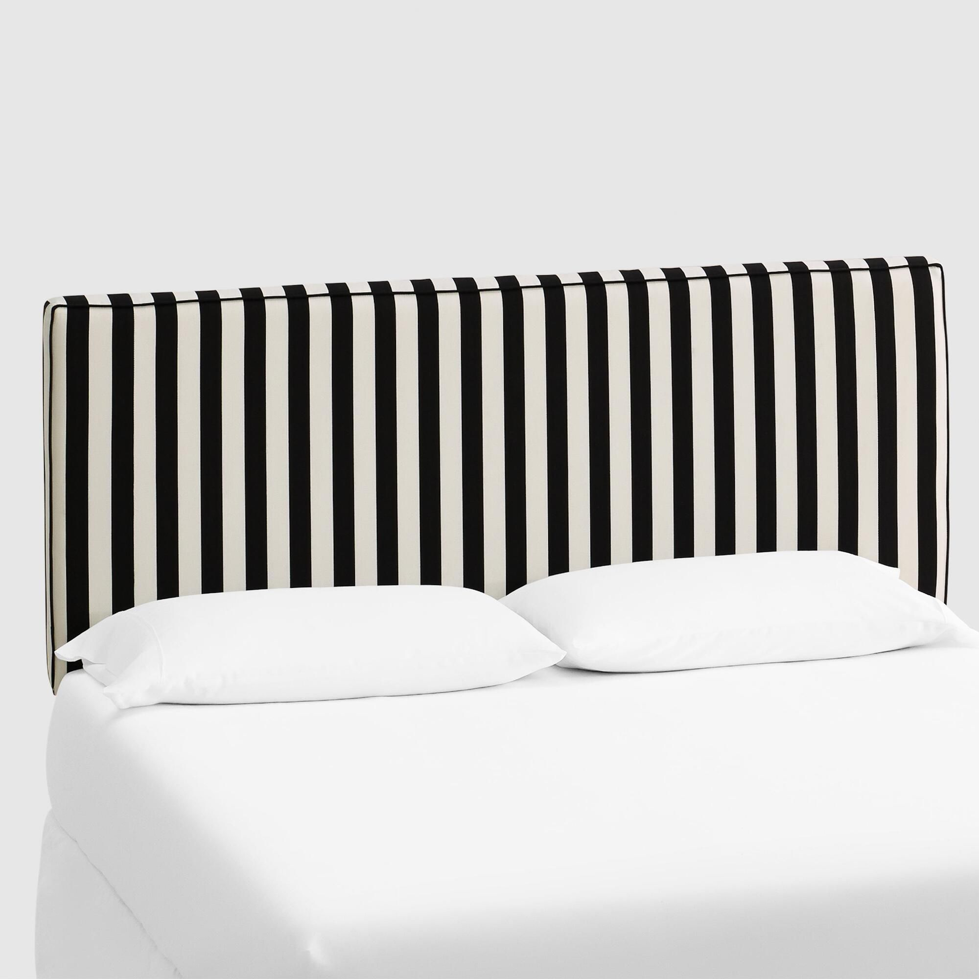 Canopy Stripe Loran Upholstered Headboard Black Fabric California King Headboard By World Market California King Headboard Headboards For Beds Full Headboard