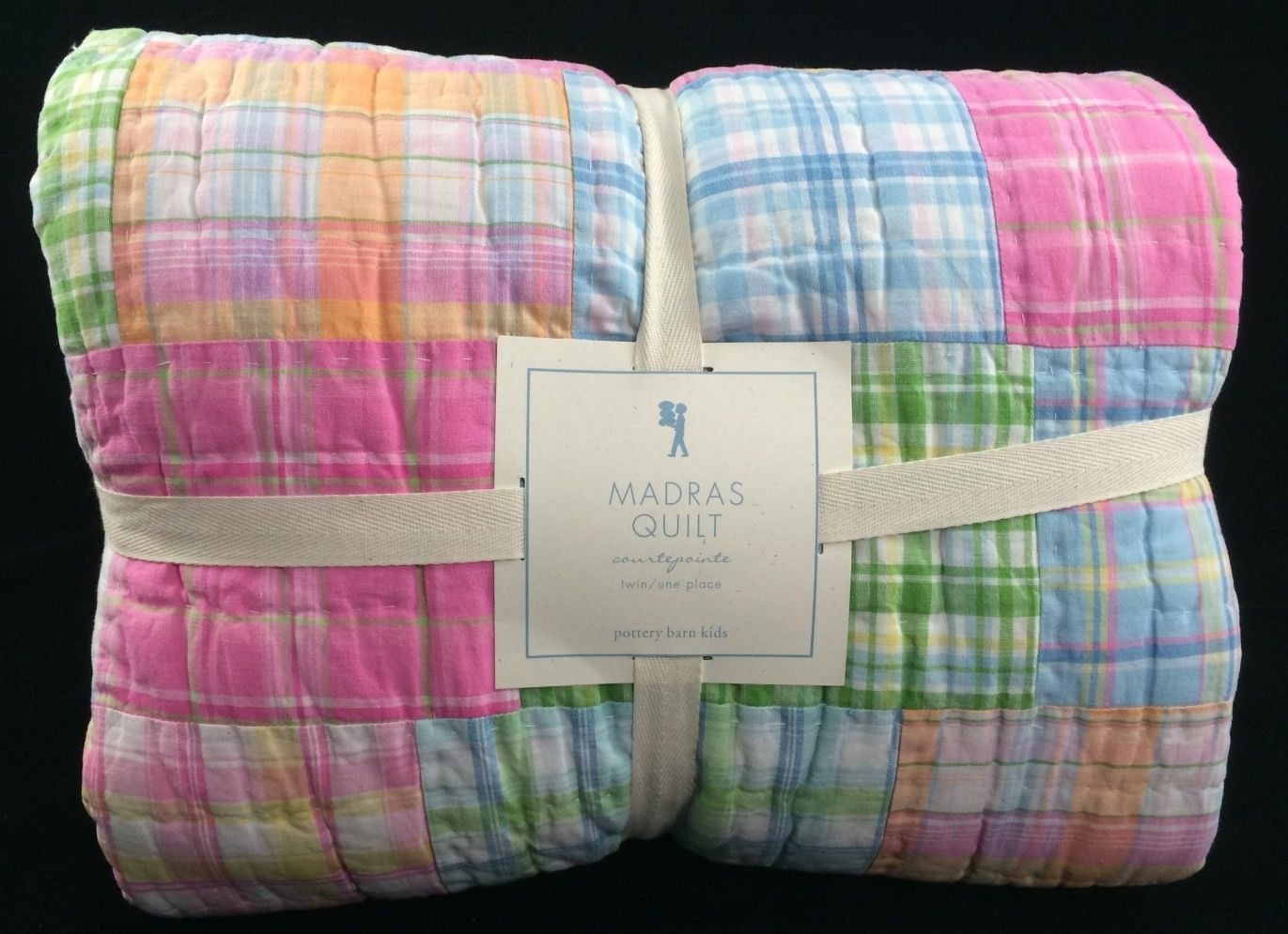 Pottery Barn Kids Madras Twin Quilt Pink Blue Girls Surf