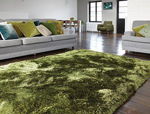 Teppich Wohnzimmer Carpet hochflor Design PLUSH SHAGGY RUG 100 - Wohnzimmer Design Grun