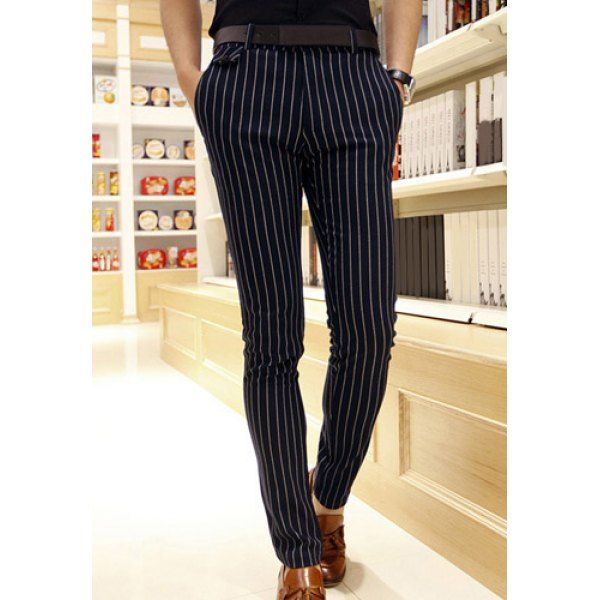 25.38 Stylish Vertical Stripe Pocket Design Slimming Straight Leg Men s  Cotton Blend Pants 54ef618e7820