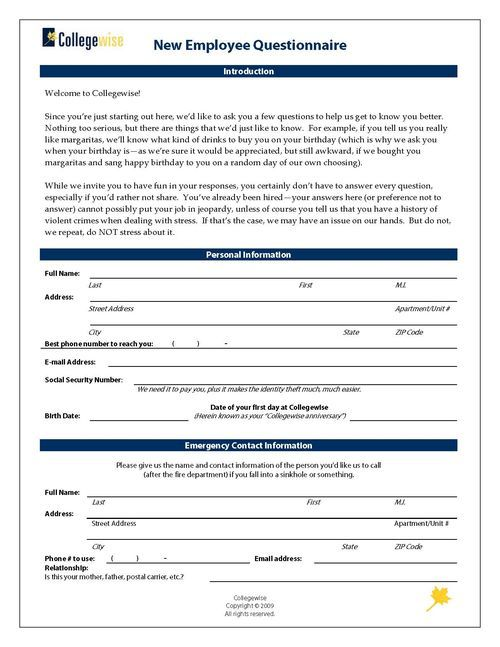New Employee Questionnaire  Employee Questionnaire