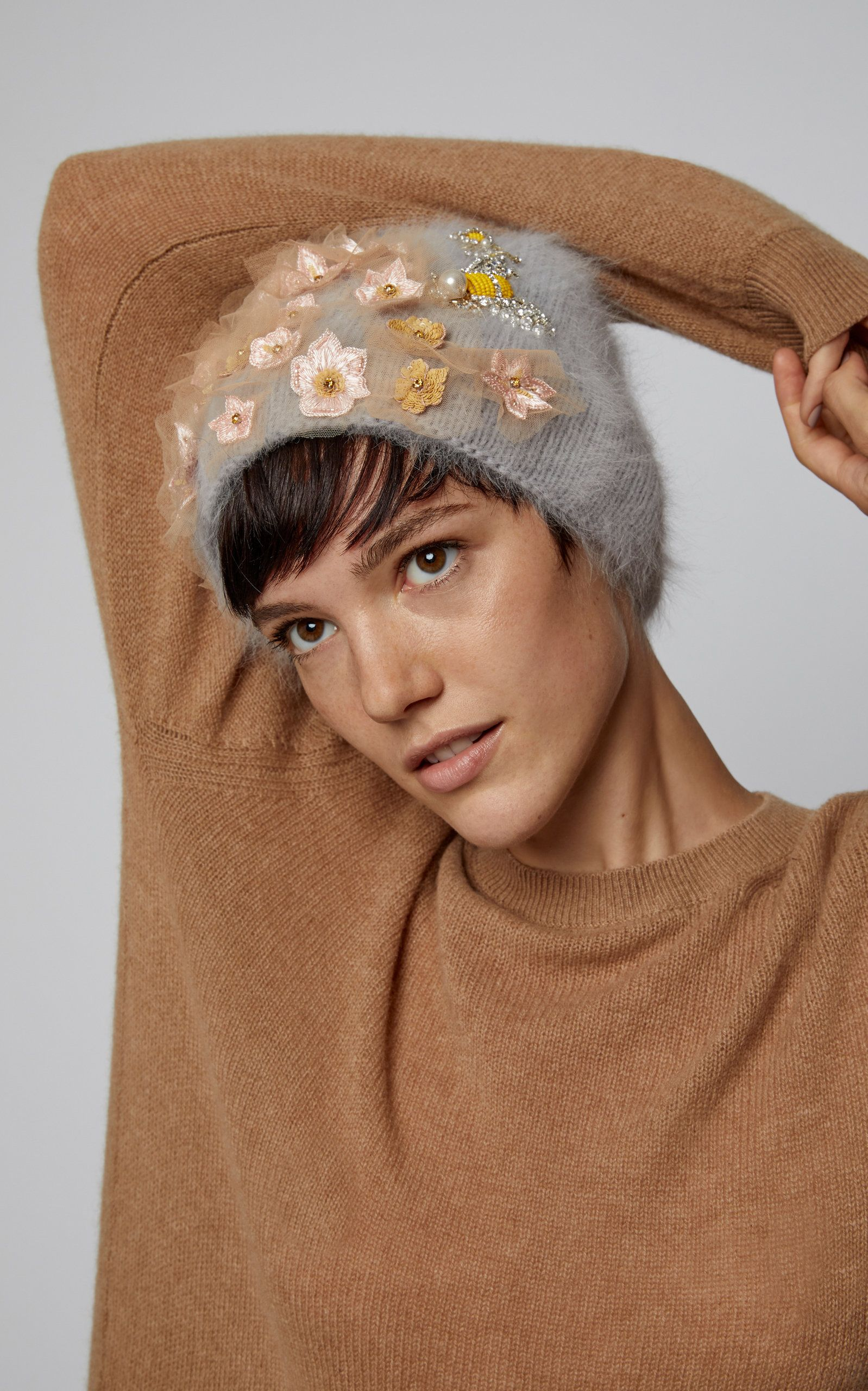 378abacea9e Gardenia Embellished Wool And Alpaca-Blend Beanie by JENNIFER BEHR Now  Available on Moda Operandi