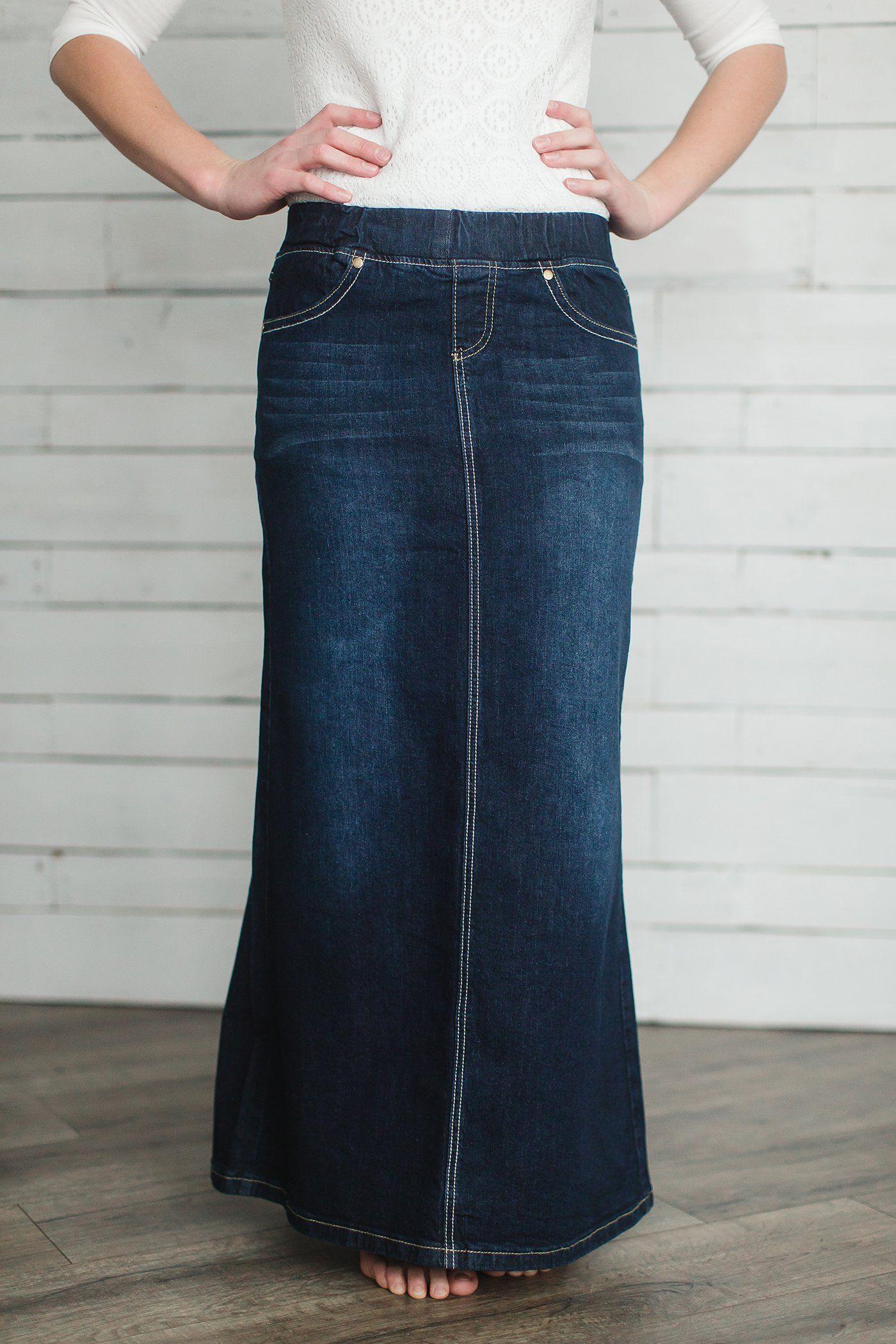 98307da2e0 Modest Women s Leah Long Denim Skirt