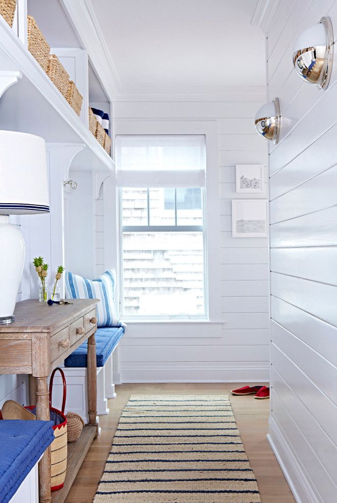 Beach Cottage With Crisp And Fresh Coastal Interiors Crisp White Paint Color Decorator S White Benj Coastal Interiors Beach House Interior Beach Bungalows