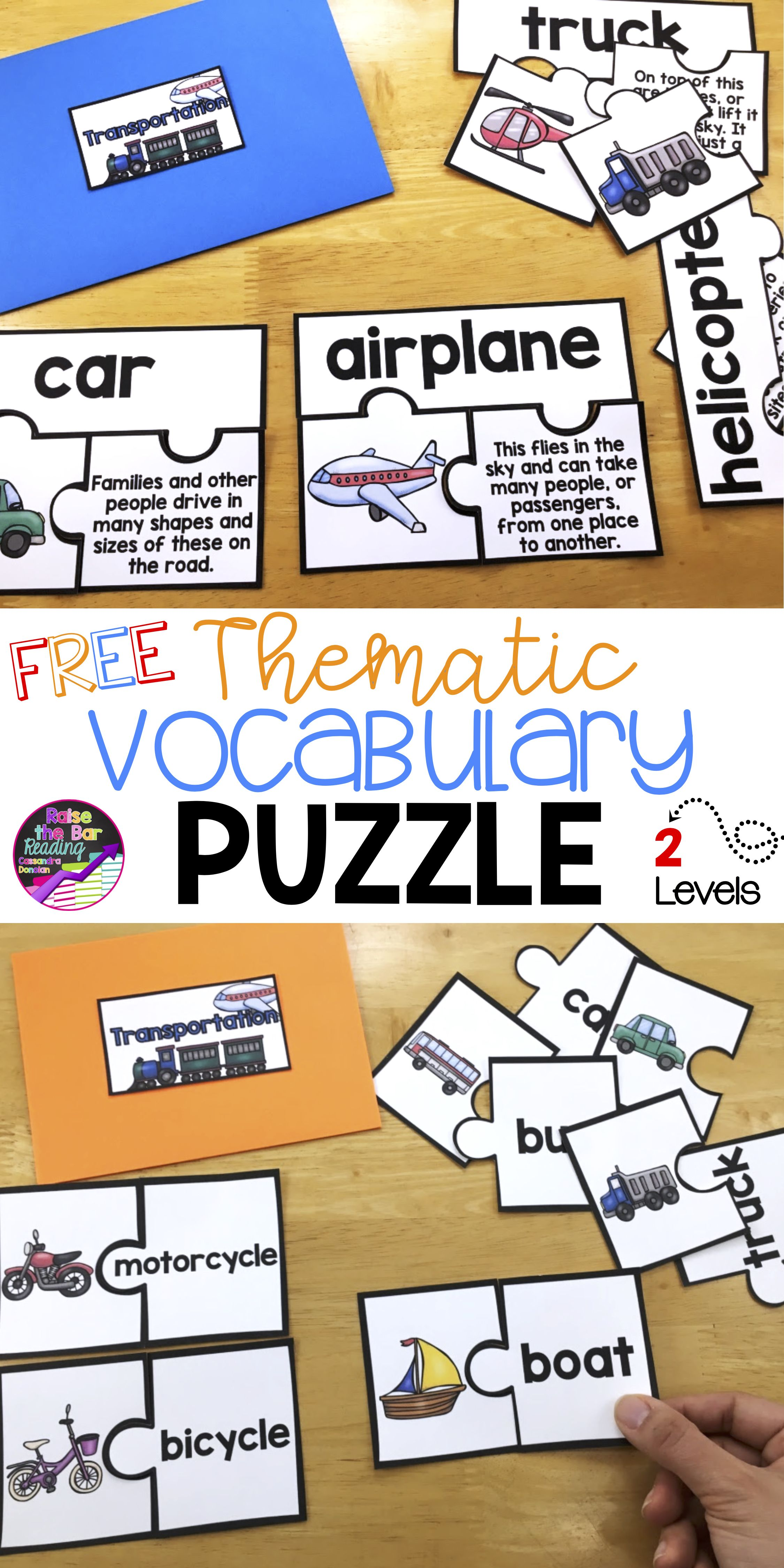 Free Thematic Vocabulary Puzzles Freebie Beginning Ell