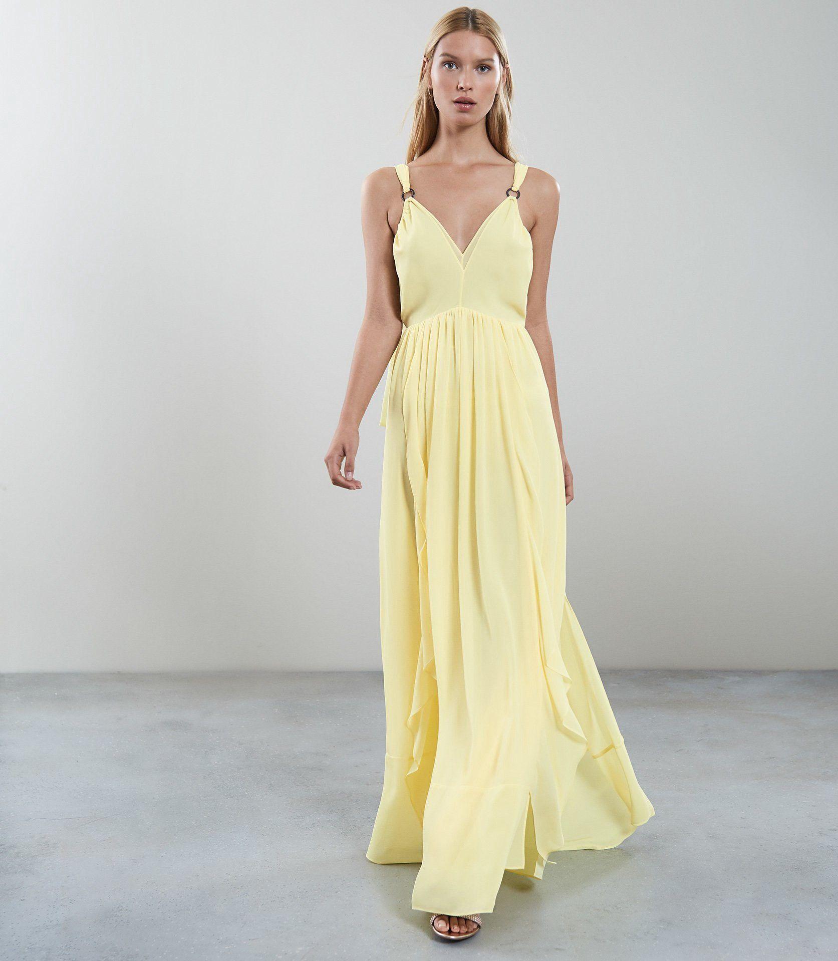 33f5c14f27 Reiss Carlotta Ruffle-Detail Maxi Dress Yellow - 10   Products ...