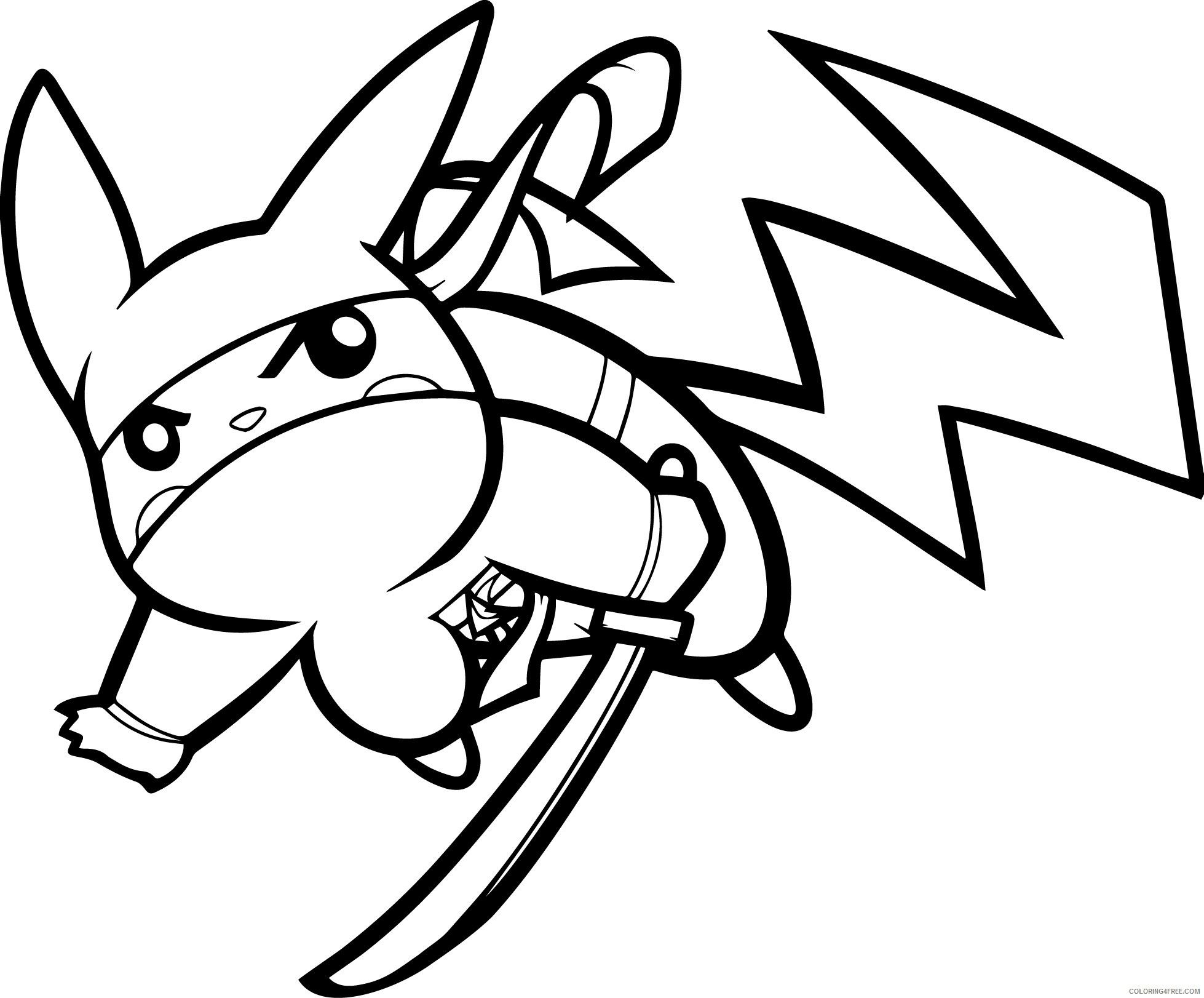 Pikachu Ninja Coloring Page From