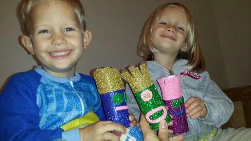 Glittery toilet paper roll monsters!!