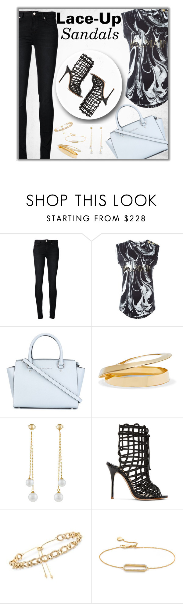 """""""Strapped In: Lace-Up Sandals"""" by fashionbrownies ❤ liked on Polyvore featuring BLK DNM, Balmain, MICHAEL Michael Kors, Marni, Effy Jewelry, Sophia Webster, Ross-Simons and Monica Vinader"""