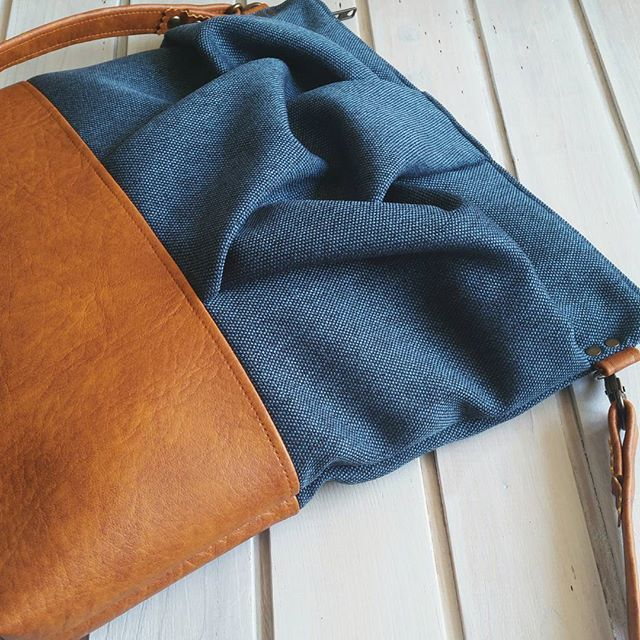Blue and caramel origami cross body bag by maiook