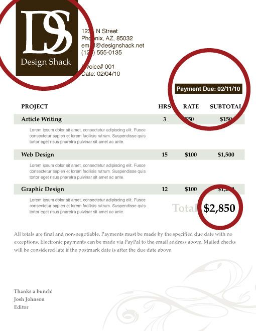 design shack creating a well designed invoice step by step