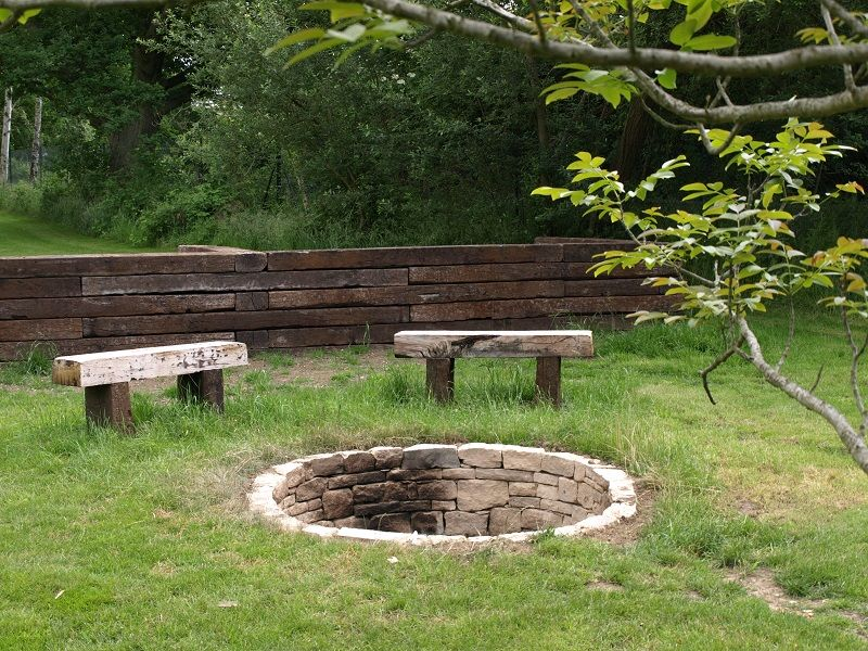 fire pit and rustic railway sleeper benches | Fireplaces | Pinterest ...