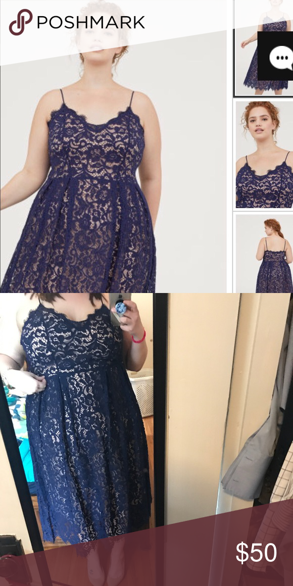 H&M plus size navy blue lace dress size 24 Stunning! This ...