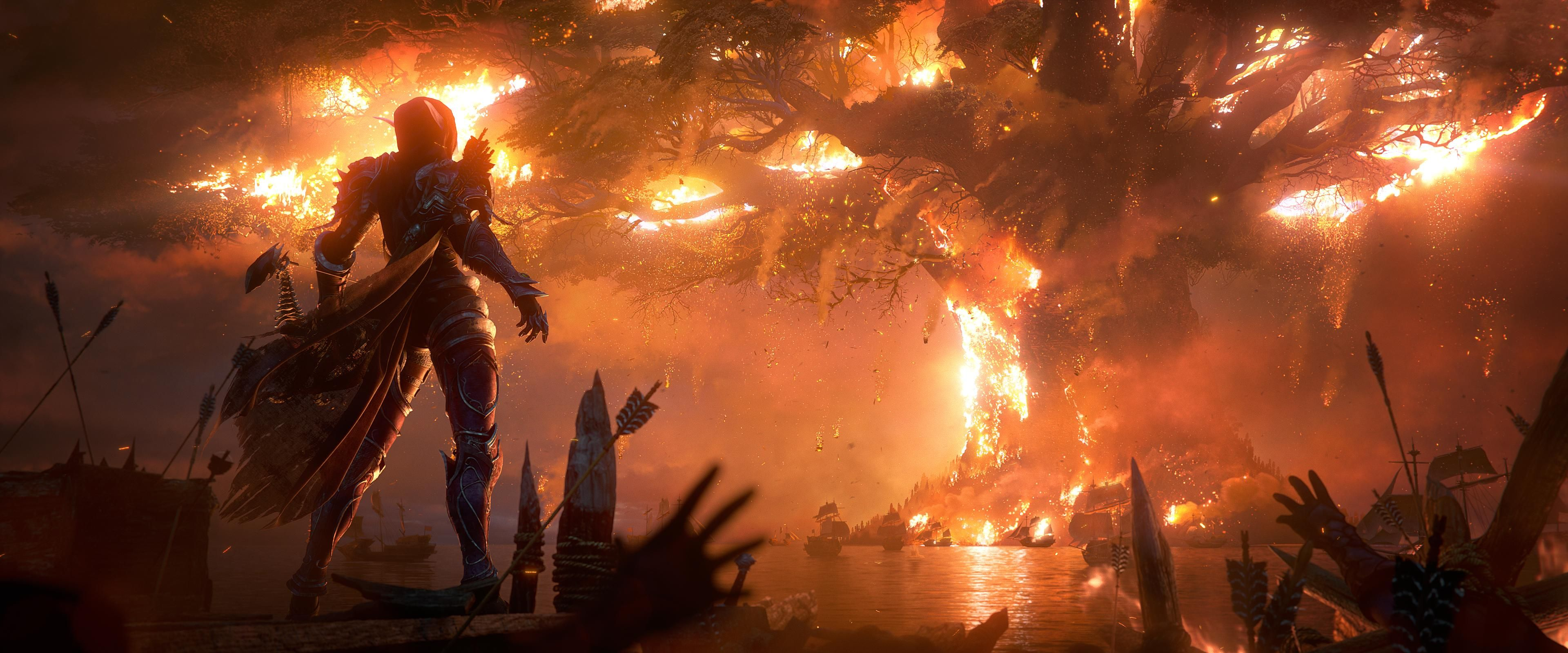 Sylvanas Windrunner Watching As Teldrassil Burns 3840x1600 Warcraft World Of Warcraft Heaven Wallpaper
