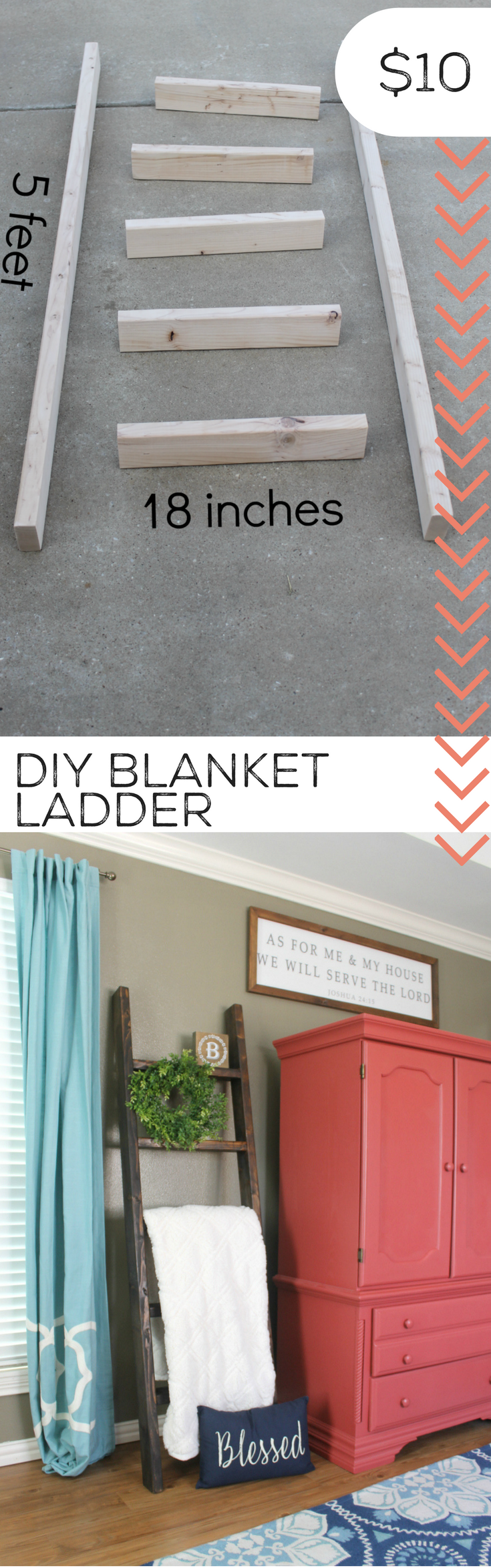 Turn scrape wood into a diy blanket ladder storage diy