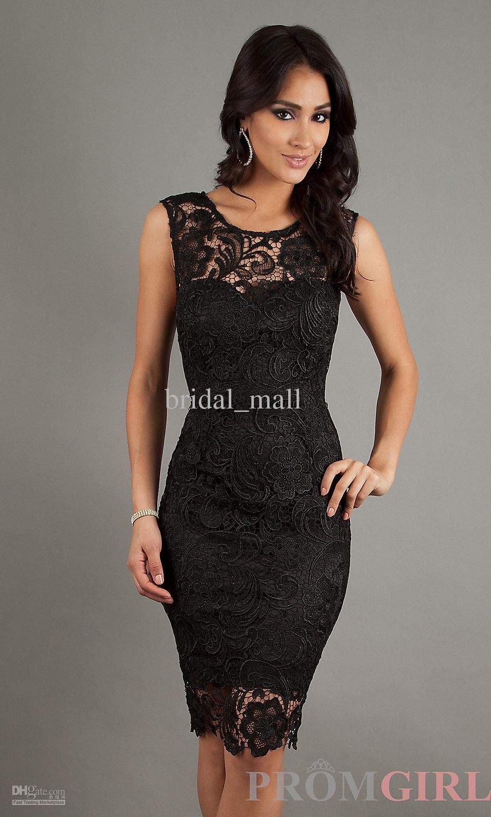 Wholesale Lady\'s Black Dress Jewel Off shoulder Knee length Lace ...