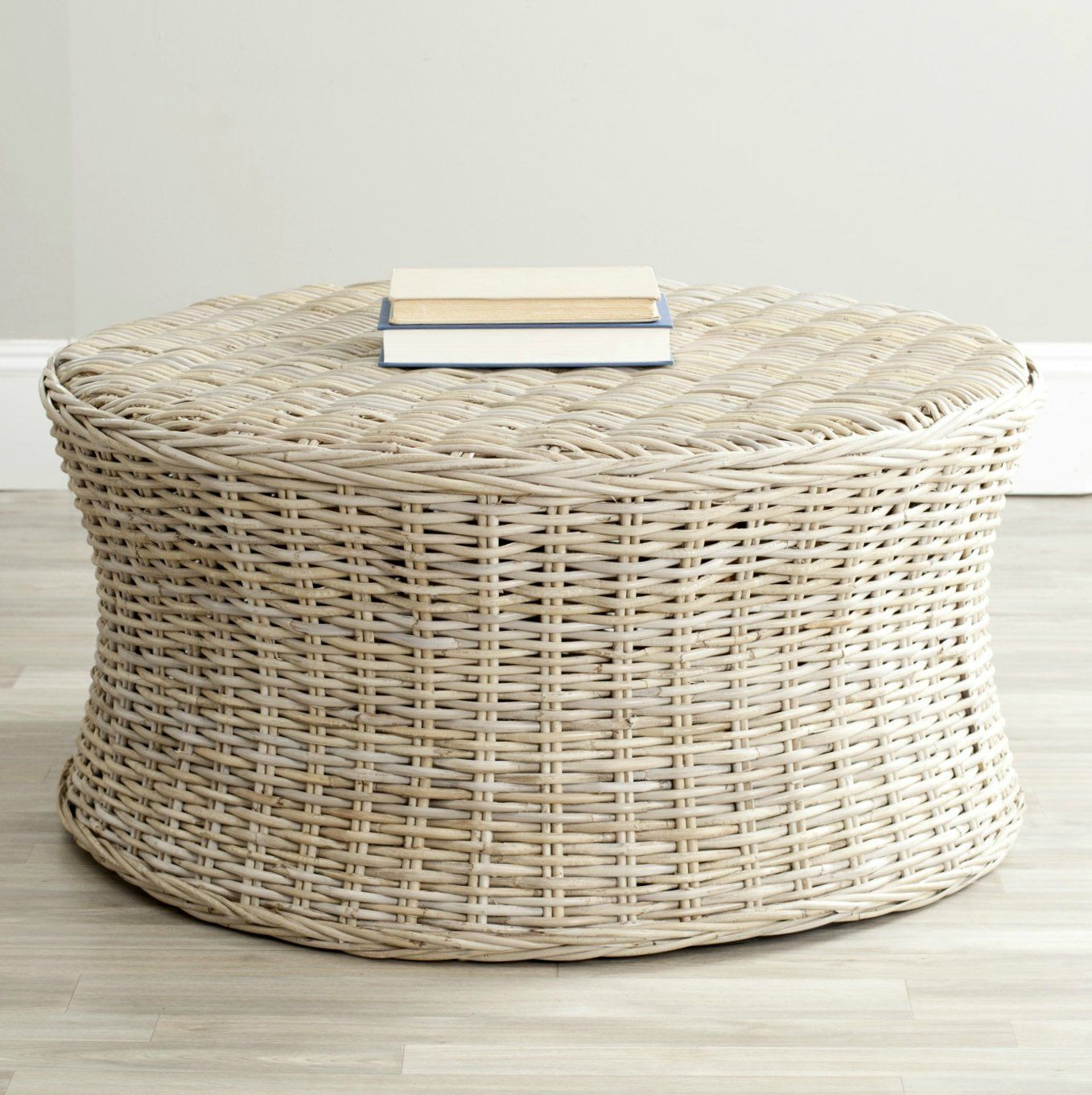 Woven Natural Rattan Palm Sturdy Wicker Round Coffee Table You Can Get Additional Details At The Image Link This Is Ottoman Cocktail Ottoman Coffee Table [ 1361 x 1357 Pixel ]