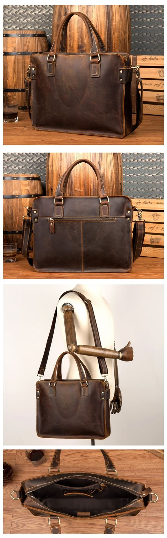 23182147b148 Men s Distressed Full Grain Leather Messenger Bag