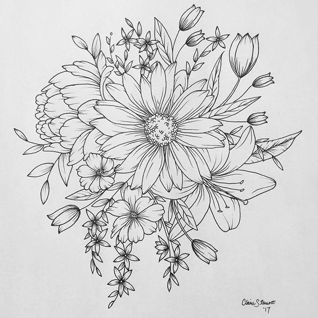 Chinese Flower Line Drawing : Flower cluster inked pinterest skabeloner
