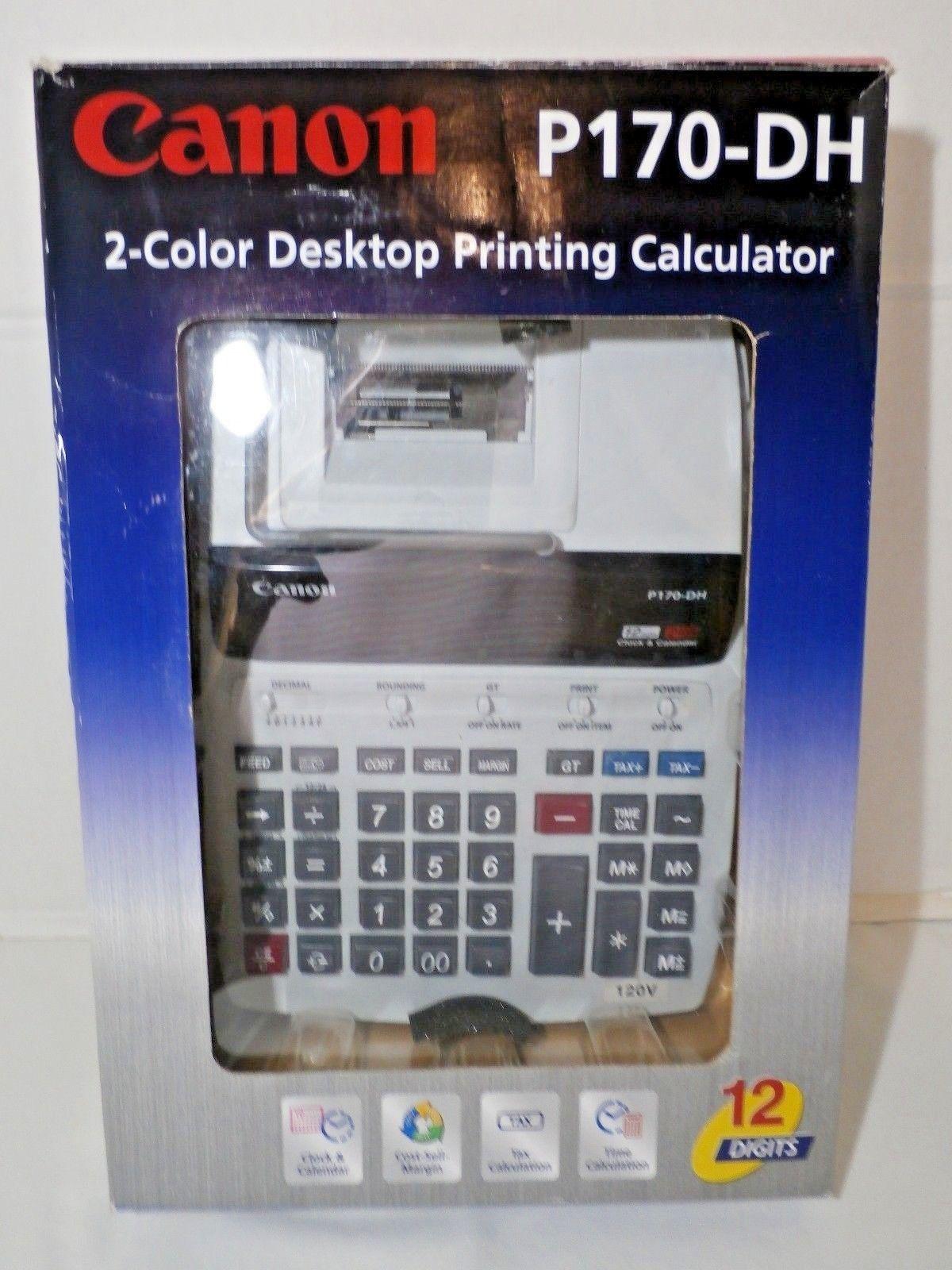 Canon P170 Dh 2 Color Desktop Printing Calculator Calendar Clock 22