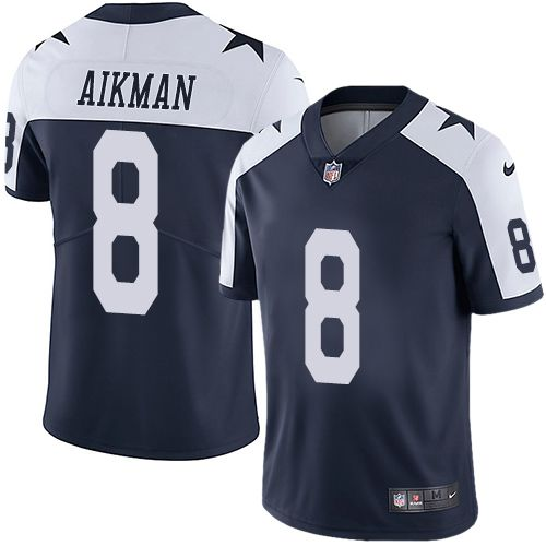 08f96a63c98 Nike Cowboys #8 Troy Aikman Navy Blue Thanksgiving Men's Stitched NFL Vapor  Untouchable Limited Throwback Jersey