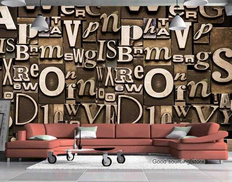 3d Wall Paper Living Room Coffee Shop 3d Letter Character Backgound 3d Tv