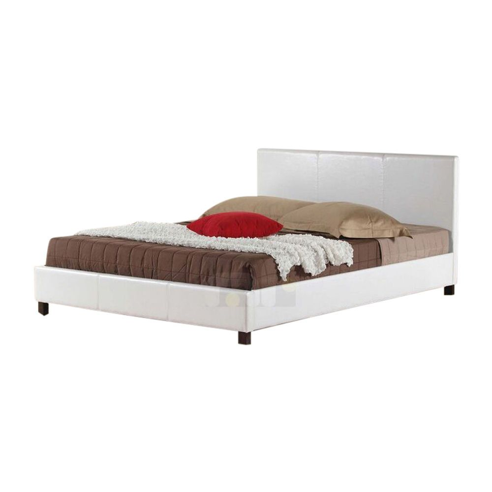 Details About New Bed Frame Double Size Pu Leather Wooden Slat