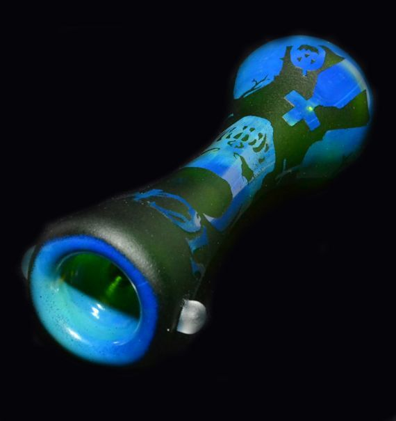 """Strawberry Glass Pipe 6/"""" Green Artisan Handcrafted Thick Borosilicate Glass"""