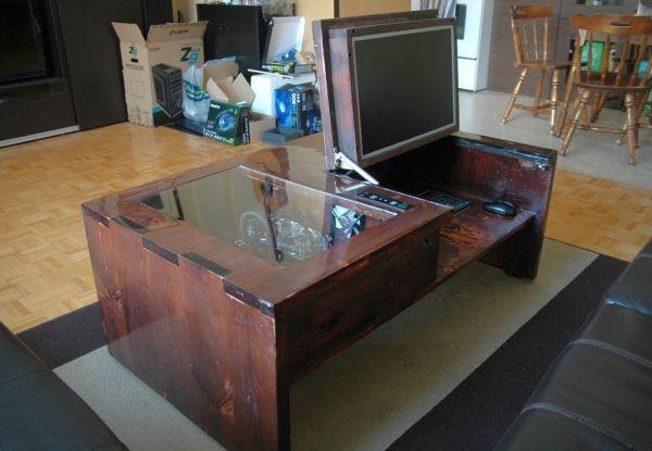Coffee Table Computer Mod Has Inside Cpu Components All Visible Coffee Table Computer Cool Computer Desks Diy Computer Desk