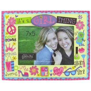 """Green Tree Gallery 7"""" x 5"""" Pink & Yellow Girl Thing MDF Picture Frame 