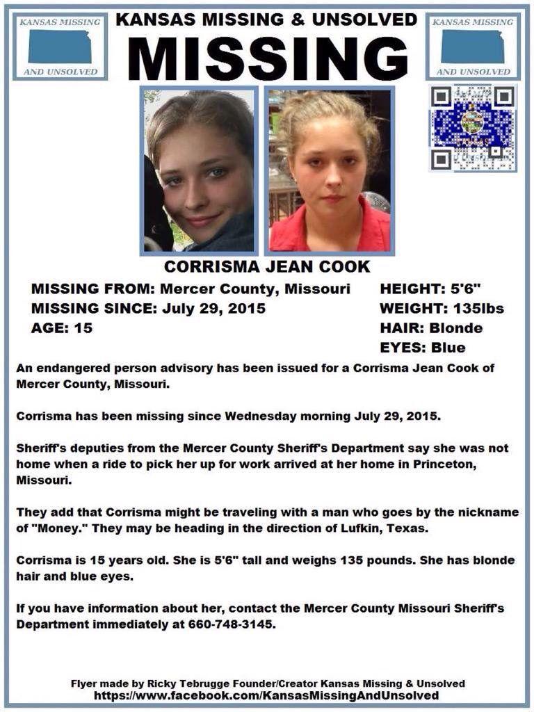Please Rt Missing Corrisma Jean Cook Mercer County Mo Miss Kansas Dark Brown Eyes Mercer