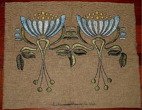 Arts and Crafts embroidery on linen