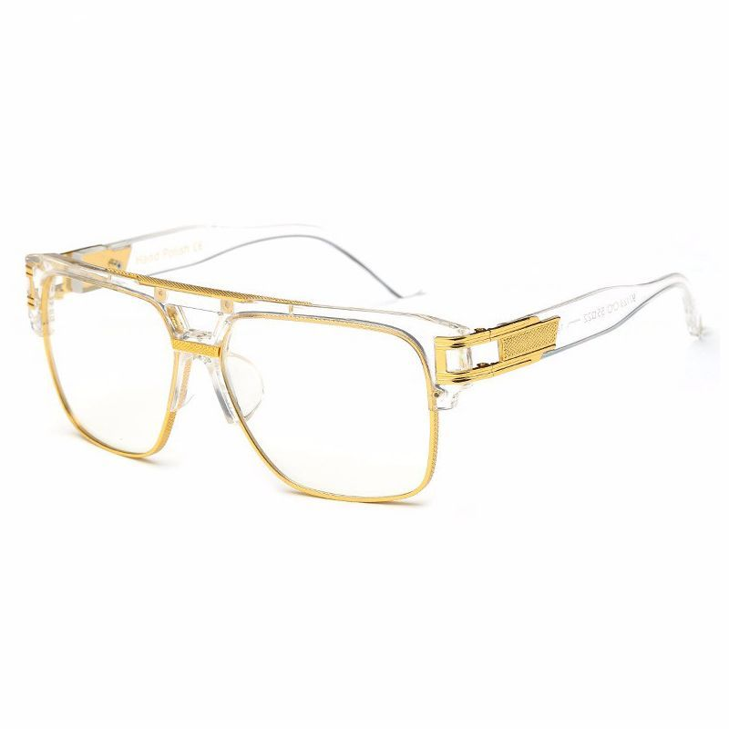 retro rectangle pilot glasses crystal gold frame clear lens