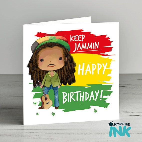 Bob Marley Birthday Card Keep Jammin Funny Birthday Card