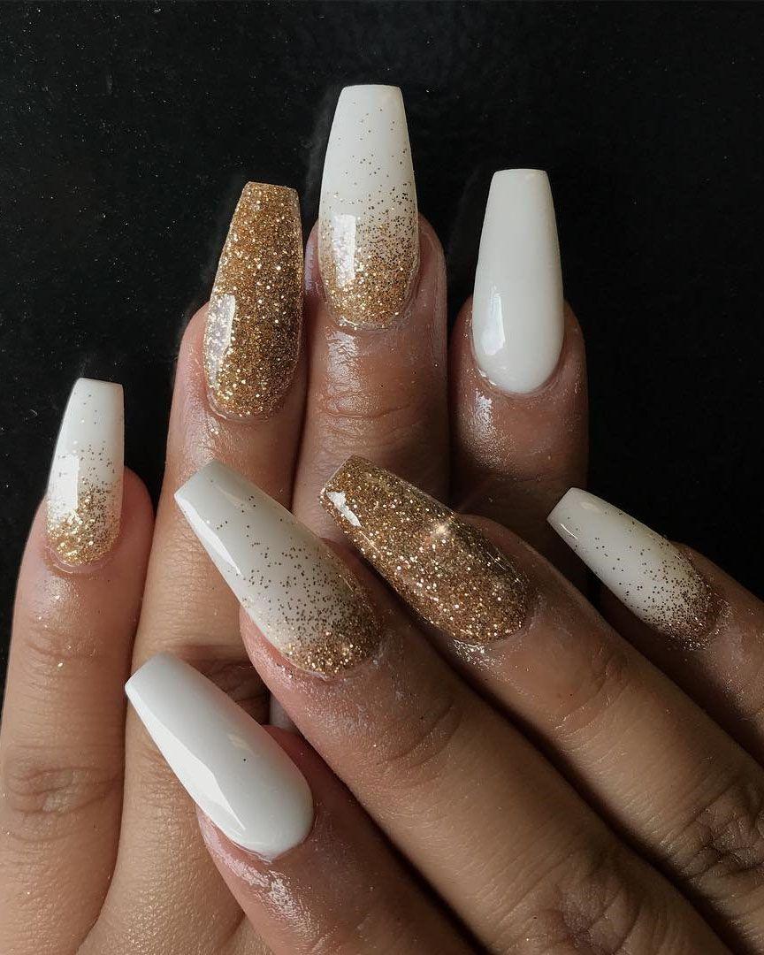 Acrylic Nails Design Ideas Inspire You 2019 Gold Acrylic Nails Gold Glitter Nails Coffin Nails Designs
