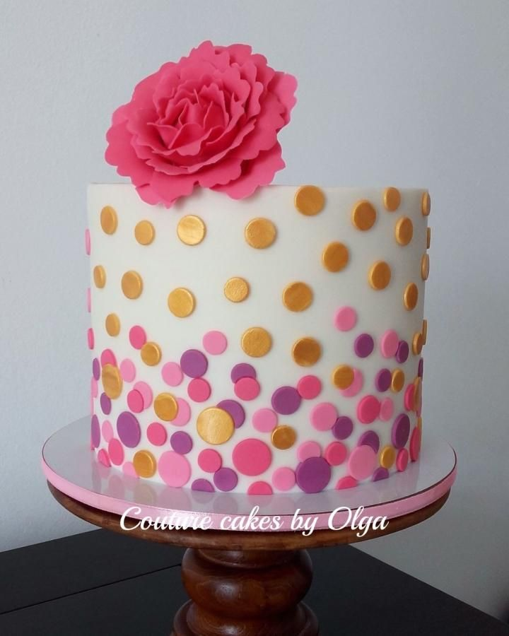 Awesome Gold Hot Pink Cake Cake By Couture Cakes By Olga Pink Birthday Funny Birthday Cards Online Overcheapnameinfo