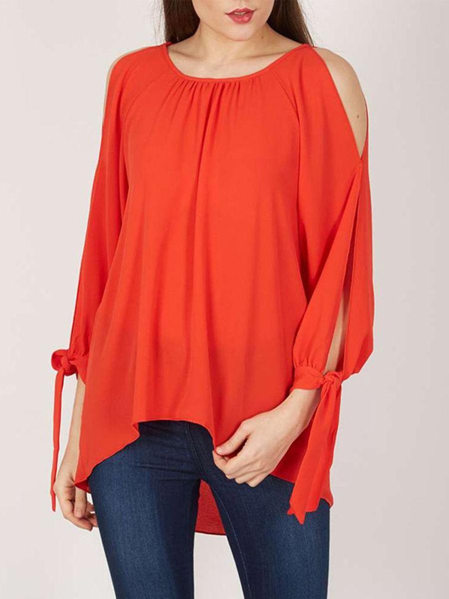 Fashionmia fashionmia round neck plain long sleeve tshirt